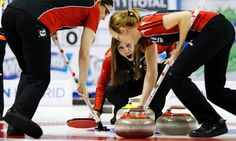Ontario skip Rachel Homan yells instructions at her teammates during the sixth draw against British Columbia in Kingston.