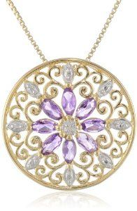 """18k Yellow Gold Plated Sterling Silver African Amethyst and Diamond Accent Medallion Pendant Necklace, 18"""""""