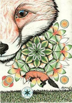 Summer fox and watter melon mandala by art Šarming <3
