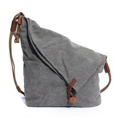 Women Men Canvas Crazy Horse Gray Button Shoulder Bags Cowhide Casual Crossbody Bags - Loluxe - 1