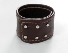 Men Leather Cuff Leather Bracelet Cuff with Hand Stitched