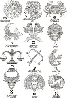 Colorful Zodiac emblems collection isolated on white backdrop. Hindu Tattoos, Symbolic Tattoos, Maori Tattoos, Irish Tattoos, Tattoos Skull, Polynesian Tattoos, Celtic Tattoos, Sleeve Tattoos, Tatoos