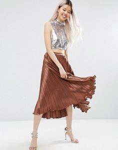 6821ced99bc2b ASOS Midi Skirt in Pleated Satin (3