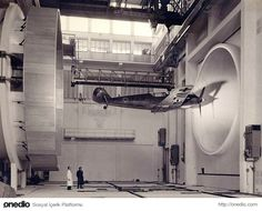 WW2 German fighter testing in wind tunnel