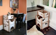 Caboodle Habitat for the kitties. Love the paw holes on sides:) #cats
