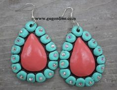 San Patricio Corral and Mint Teardrop Earrings  $29.95  www.gugonline.com