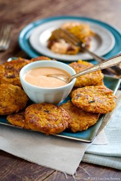 Sweet Potato Fritters with Sriracha Mayo