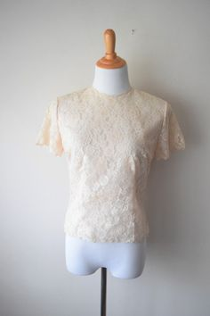 Vintage 50s Ivory Cream Sheer Illusion Lace Back Button Fitted Blouse by Saab // Heavenly Pin-Up Perfection Top