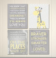 Baby girl nursery art, baby boy nursery art, grey yellow nursery, childrens wall art, nursery typography, quotes for baby, Set of 4