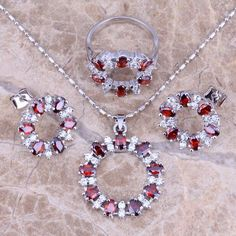 Good-Looking Red Garnet White Topaz Silver Jewelry Sets Earrings Pendant Ring Size 6 / 7 / 8 / 9 / 10 Free Gift Bag S0143 - cubic zirconia jewelry