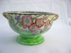VTG 40s Maler Newcastle Footed Lustreware Clematis Bowl Dbl Handles Pearlized English Pottery, Clematis, Newcastle, Handle, House, Beautiful, Vintage, Ideas, Home