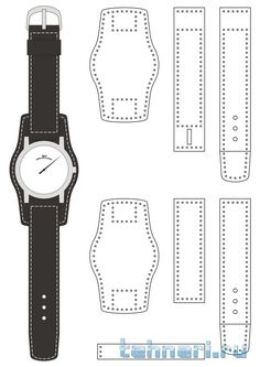 Watch strap 2 {re-size} Leather Art, Sewing Leather, Leather Cuffs, Leather Design, Leather Jewelry, Leather Wallet, Leather Tooling Patterns, Leather Pattern, Leather Tutorial