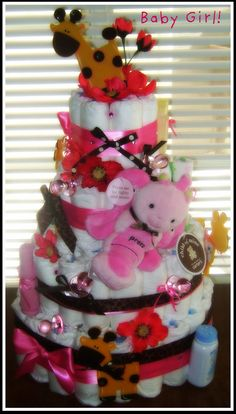 Baby Girl Diaper Cake by PoshFloralandDesigns on Etsy, $65.00