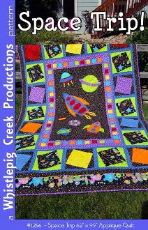 "Space Trip Quilt and Pillowcase Pattern by Whistlepig Creek Productions by KayeWood.com. This fun quilt will encourage your little astronaut to reach for the stars! 62"" x 99"" Applique pattern, also includes a pillow case pattern to match. http://www.kayewood.com/Space-Trip-Quilt-and-Pillowcase-Pattern-by-Whistlepig-Creek-Prod-WPC-SPTR.htm $9.50"