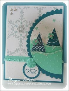carte relief avec perfo fanion sapin stampin up