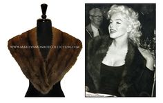 A natural mink collar with brown satin lining. An obvious favorite, Marilyn wore this fur regularly when living in New York City, and also during at least two Milton Greene photo shoots, one being the famous Edward R. Murrow session, which was shot at his home prior to Marilyn's now famous appearance on his television show. On another occasion, Marilyn was interviewed wearing this collar at Milton Greene's studio, located at 480 Lexington Avenue in New York.