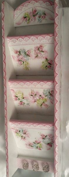Hand Painted Letter Holder Wooden Cottage Chic Pink Roses Hydrangea Shabby Lace