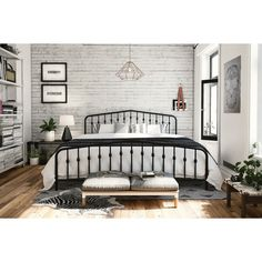 Get inspired to introduce fresh ideas into your bedroom to create a look that is both cozy and elegant. The Novogratz Bushwick Metal Bed has a simple design that will perfectly complement rooms of any style and décor. With round finials featured on the headboard and footboard posts, its style and color can be easily combined with bold colors and accessories to brighten up the room. Complete with metal slats, side rails and center legs, this bed's sturdy construction provides full support and…