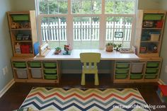 desk area - IKEA LINNMON table top on top of two IKEA TROFAST storage units A child psychologist's tips on how to create a playroom that will grow with your child! Three playroom ideas for areas to include and great toy storage. Ikea Trofast Storage, Trofast Hack, Kids Playroom Storage, Playroom Shelves, Ikea Expedit, Ikea Ikea, Kallax, Cubbies, Creative Toy Storage