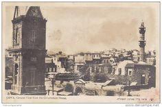 """JAFFA - General view with Mosque from the Government House """" Jaffa Israel, Israel Palestine, Old Jaffa, Tel Aviv Israel, Israel Travel, Mosque, Big Ben, Paris Skyline, Ottoman"""