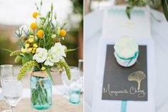 Yellow and white centerpiece  | Photos by Birds of a Feather | 100 Layer Cake