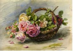 Basket with Roses ~ Madeleine Jeanne Lemaire