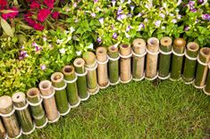 garden bamboo fencing enclosing bed of flowers