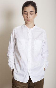 Engineered Garments FWK Banded Collar Shirt White Super Fine Twill - Shirts