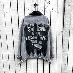 Painted Denim Jacket, Painted Jeans, Painted Clothes, Hand Painted, Denim Wash, Custom Clothes, Diy Clothes, Looks Black, Tequila Tequila