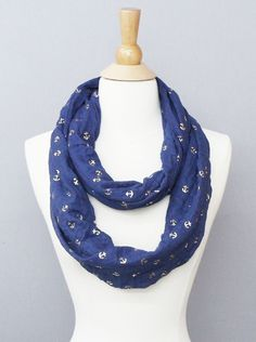 Navy and Gold Anchor Infinity Scarf