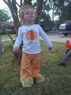 fall ruffle pumpkin outfit...FREE MONOGRAMMING. $35.00, via Etsy.