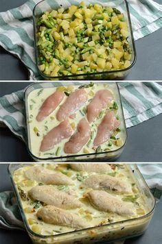 Enkelt og lækkert kartoffelfad med kylling, asparges og ærter samt en lækker sovs med fløde og bouillon. En super simpel hverdagsret, hvor hele herligheden tilberedes i ovnen.