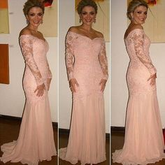 2018 Off the Shoulder Buttons Covered Back Blush Mermaid Evening Dresses Long Sleeve Mother of the Bride Dresses