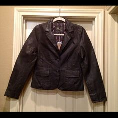 Leather Jacket NWT - Leather 2 button blazer - 2 front flap pockets. Too small for me & forgot to return Old Navy Jackets & Coats