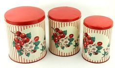 Vintage Painted Metal Kitchen Canister Set of 3 Cherries 1940s ...