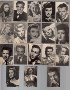 Movie stars cigarette trading cards 1947