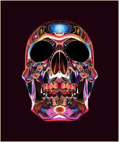 Skull art with pretty colors Totenkopf Tattoos, Arte Robot, Skull Artwork, Skull Illustration, Skull Wallpaper, Sugar Skull Art, Sugar Skulls, Skulls And Roses, Poster S