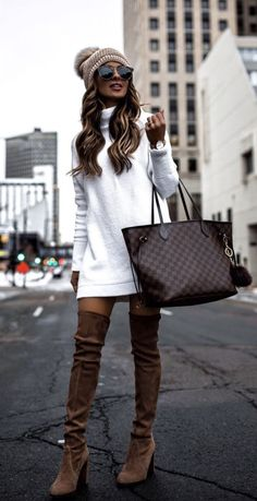 40 Outstanding Casual Outfits To Fall In Love With: Casual outfits for spring & . - - 40 Outstanding Casual Outfits To Fall In Love With: Casual outfits for spring & fall to get inspired by! If you're looking for causal outfit inspirati. White Sweater Dress, Sweater Dress Outfit, Sweater Dresses, Dress Outfits, White Dress Outfit, Classy Outfits, Beautiful Outfits, Trendy Outfits, Winter Fashion Outfits