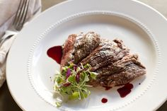 Skirt Steak with Pomegranate Gastrique - Click for Recipe