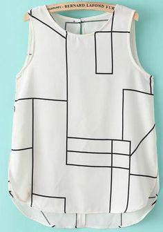 White Sleeveless Geometric Print Chiffon Vest 15.50