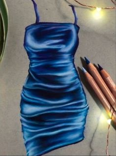 Blue Drawings, Art Drawings Sketches Simple, Pencil Art Drawings, Realistic Drawings, Colorful Drawings, Drawing Art, Fashion Design Sketchbook, Fashion Sketches, Drawing Clothes