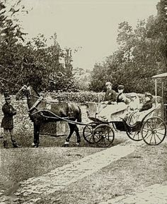 Charles Dickens driving a carriage with his family.