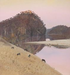 Cattle on hillside, Shoalhaven, (circa by Arthur Boyd :: The Collection :: Art Gallery NSW Watercolor Landscape, Abstract Landscape, Landscape Paintings, Abstract Oil, Australian Painting, Australian Artists, Cool Landscapes, Beautiful Landscapes, Arthur Boyd