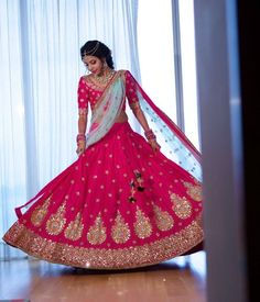 Bride Pooja Reddy glowing in Mrunalini Rao Rose Pink Aankh Lehenga from  Banjara  Collection. 21 August 2017