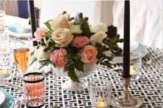 Black, white and coral - Tablescape styling by Manvi Drona-Hidalgo