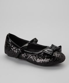 Take a look at this Black Glitter Ballerina Bow Mary Jane by Josmo on #zulily today!