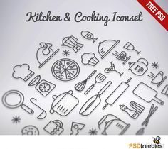 Kitchen+&+Cooking+Outline+Iconset+Free+PSD