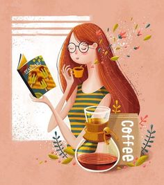 Coffee Recipe Design - - Coffee Night Date - Healthy Coffee Ideas - Iced Coffee Smoothie Art And Illustration, People Illustration, Children's Book Illustration, Character Illustration, Cuadros Diy, Poster S, Character Design Inspiration, Storyboard, Cute Drawings