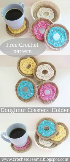 Crochet Doughnut Coasters and Holder Set, Free Crochet PatternCrochet Roller Coasters – Free Brilliant Ideas for Crochet Coasters – Free PatternsFlower Crochet Coasters Crochet Free Pattern Bag Crochet, Crochet Diy, Crochet Amigurumi, Crochet Food, Crochet Home Decor, Crochet Kitchen, Love Crochet, Crochet Gifts, Crochet Ideas