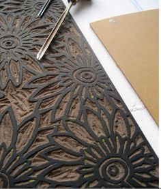 Lino cut block by Karen Edwards